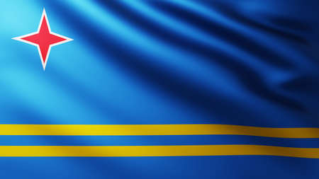 Large Flag of Aruba Island fullscreen background in the wind with wave patterns Reklamní fotografie