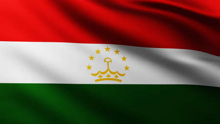 Large Flag of Tajikistan fullscreen background in the wind with wave patterns