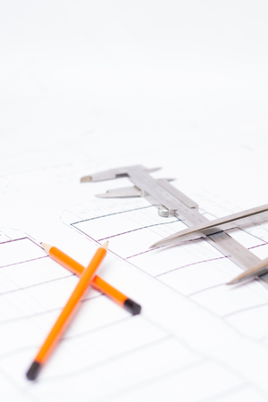 plan with pencils and vernier caliper and compass Stock Photo
