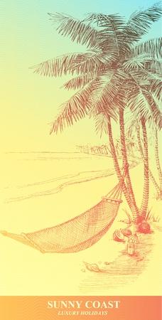 hammocks: Arte-illustrazione vettoriale che rappresenta gli alberi di amaca e palmo disegnati a mano.