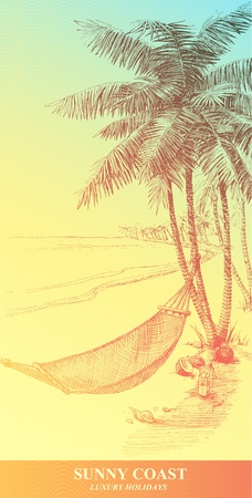illustration that represents the hand-drawn hammock and palm trees. Vector