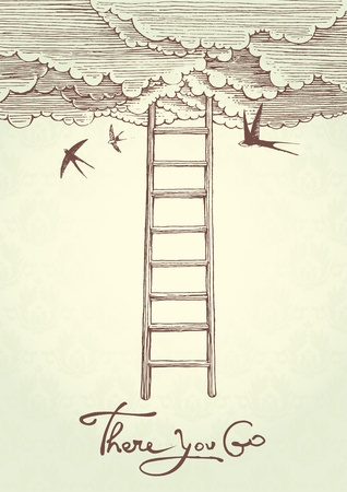 swallow: illustration that represents the stairway to heaven. Illustration