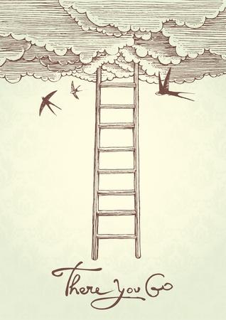 golondrinas: Ilustración vectorial que representa la escalera al cielo.
