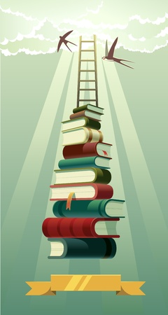 achieve goal: illustration that represents the concept of studying and power of the books. Illustration