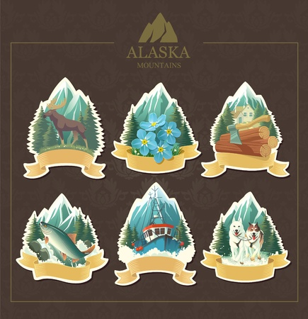 art-illustration that represents the beauty of Alaska. Vector