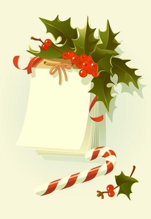 illustration that represents the calendar with mistletoe bouquet. Stock Vector - 10684647