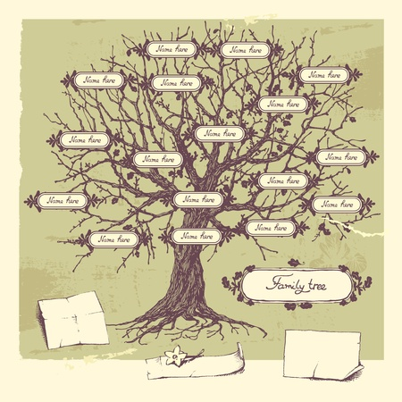 Vector illustration of family tree. Oak hand-drawn tree. Vector