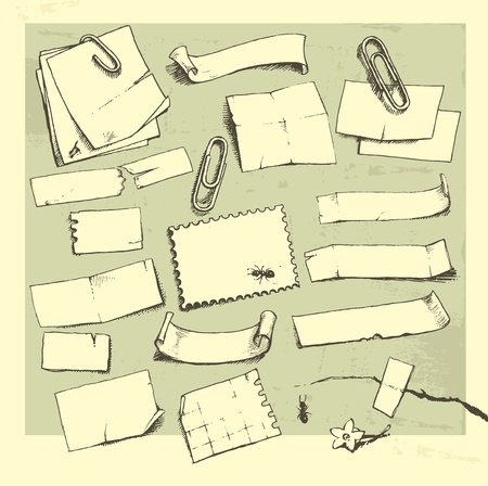 piece of paper: Vector illustration that represents the hand-drawn paper pieces. Illustration