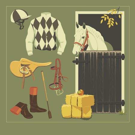 Vector jockey set. Jockey equipment collection.