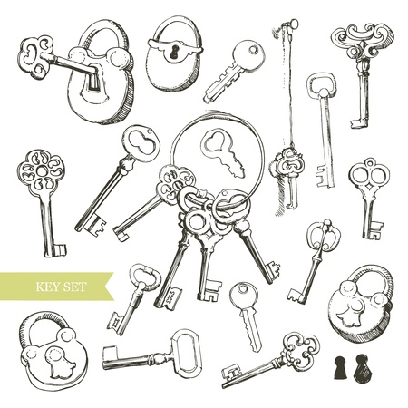 antique keyhole: Vector illustration represents various kinds of keys.