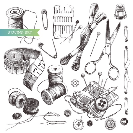 scissors:  hand-drawn sewing set. Illustration