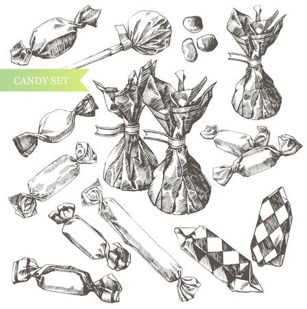 sweetmeats: el arte-ilustraci�n de dibujado a mano caramelos. Vectores