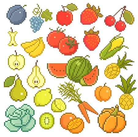 8 bit set with fruits and vegetables. Vector