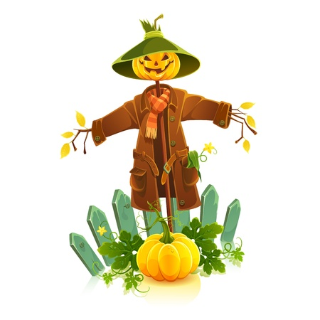 pumpkin leaves: Cartoon vector illustration of scarecrow isolated on white background.