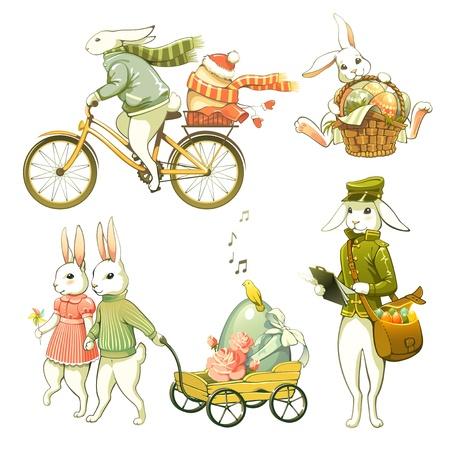 cartero: Dibujos conejitos de Pascua aisladas sobre fondo blanco