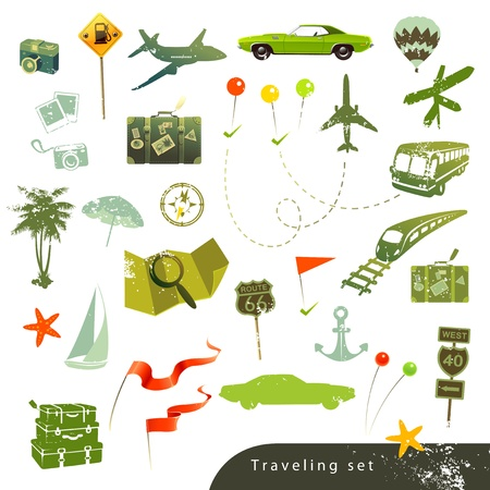 Travel icon set in retro style on white background  Vector