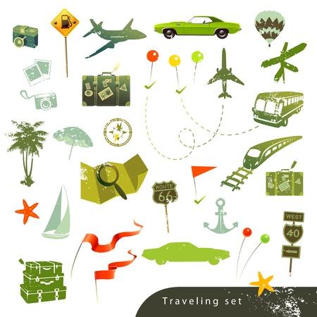 Travel icon set in retro style on white background