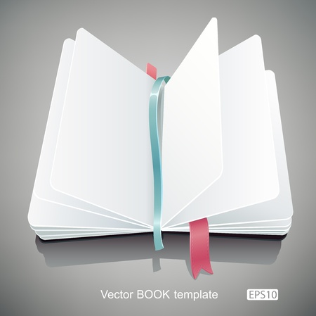 note book: Template of an opened book with clean white pages. Illustration