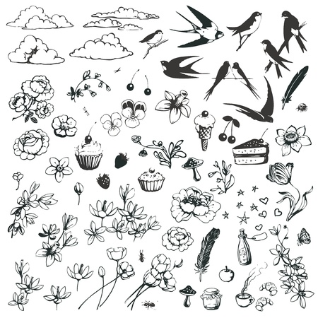 swallow: Vector set of romantic doodles isolated on white background.