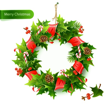 Realistic Сhristmas wreath with fir and mistletoe.