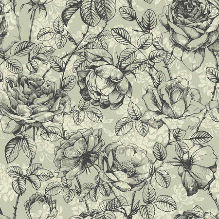 Retro floral pattern with hand drawn roses Vector