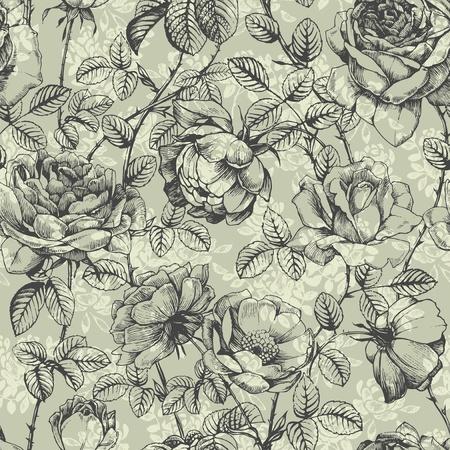 botanika: Retro květinový vzor s ručně kreslenou růží