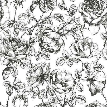 vintage: Florale Muster mit Hand gezeichneten Rosen