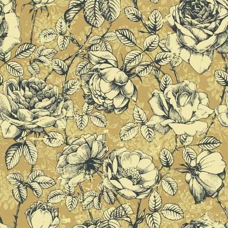 botanical branch: Vintage floral seamless pattern with hand drawn roses