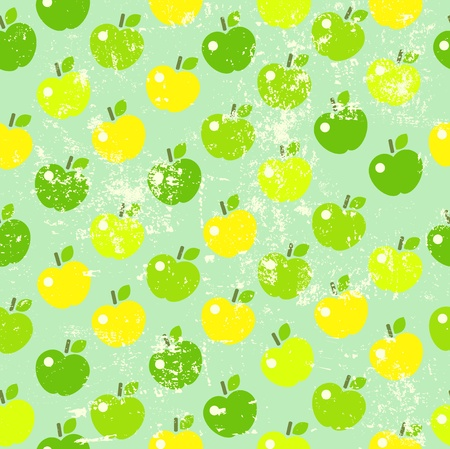 Seamless background with apples in retro style Vector