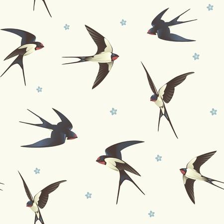 golondrinas: Fondo inconsútil con el modelo traga con una bandada de pájaros Vectores