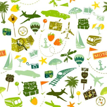 reise retro: Reisen nahtlose Muster auf weißem Hintergrund Illustration