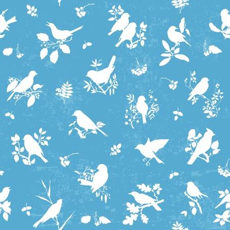 bandada pajaros: Patrón de fondo sin fisuras con las siluetas de pájaros cantores