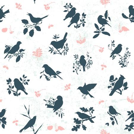 Vogelbeere: Nahtlose Muster Hintergrund mit Singvögeln Silhouetten Illustration