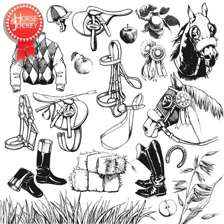zsoké: Nagy Lovas gyűjtemény kézzel rajzolt lóverseny berendezések