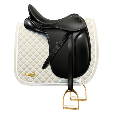 tack: Black leather dressage saddle with white saddle pad isolated on white background Illustration