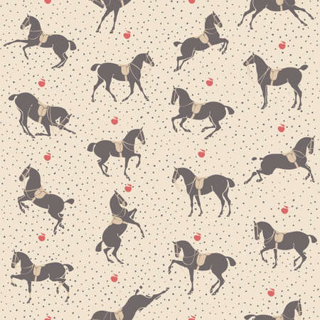 bowing: Seamless texture with dressage horses in harness