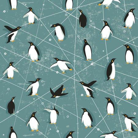 pinguino caricatura: Patrón sin fisuras con pequeños pingüinos lindos en fondo azul Vectores