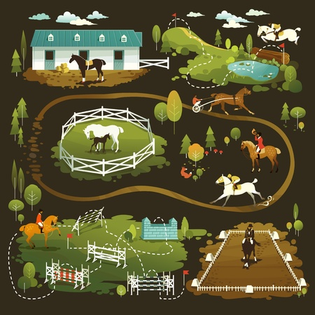 corse di cavalli: Equestri illustrazioni vettoriali di vita cavallo, allevamento, da corsa, dressage, concorso completo e salto ostacoli