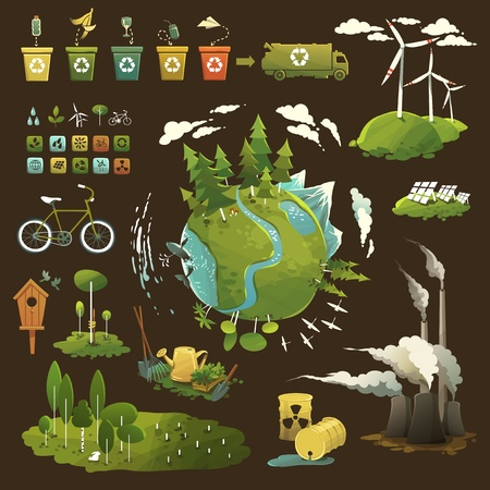 Thematic illustrations for environmental movement and environmental issues Vector
