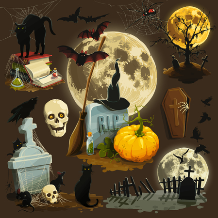 Clip art illustrations for Halloween celebration Vector