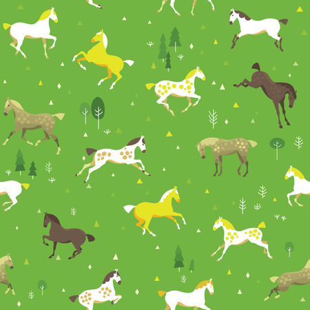 dapple grey: Equestrian seamless pattern with free horses in the field