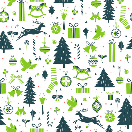 x mas: Vector seamless pattern for Christmas and New Year events Illustration