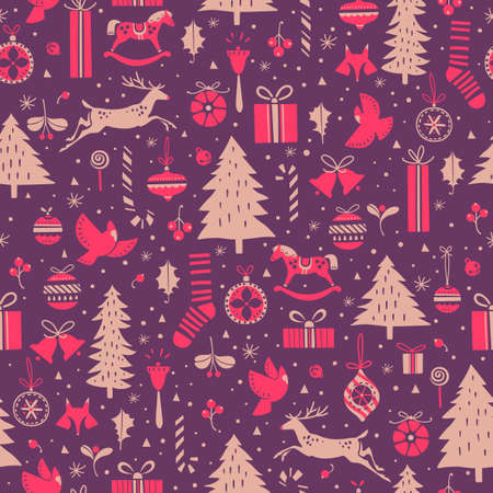 Festive seamless pattern for Christmas and New Year events Illustration