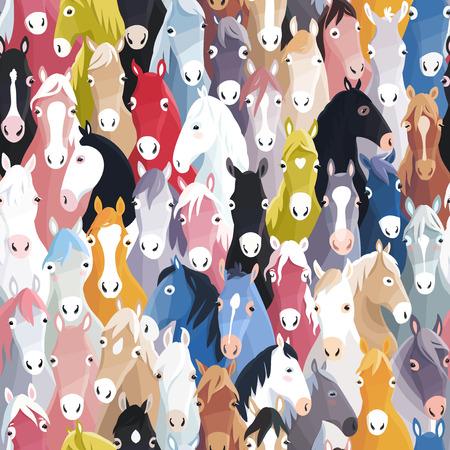 caballo caricatura: Fondo incons�til del modelo con los caballos coloridos dibujos animados