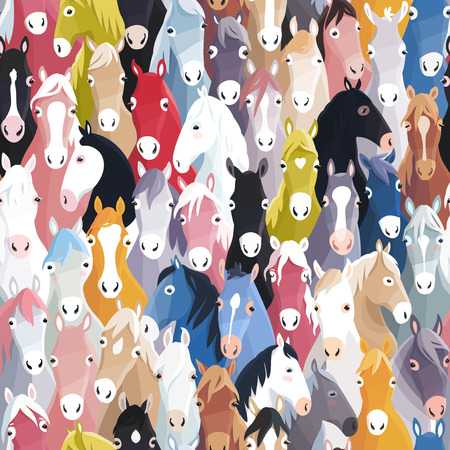human head: Seamless pattern background with colourful cartoon horses