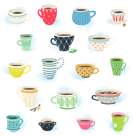 Clip art collection of cute tea and coffee cups