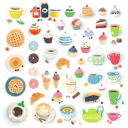 hot cakes: Ilustraciones clipart de tazas de magdalenas magdalenas crepes donas y pasteles