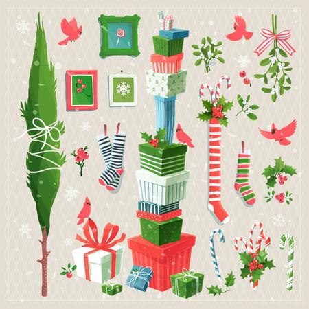 muerdago: Feliz colecci�n de im�genes predise�adas de elementos decorativos para eventos de Navidad y A�o Nuevo Vectores