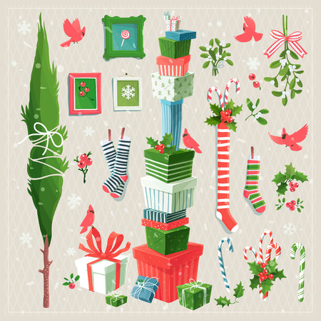 events: Merry clip art collection of  decorative elements for Christmas and New Years  events