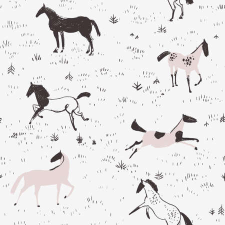 equestrian: Equestrian seamless pattern with free horses in the field